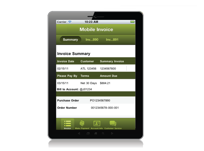electronic invoice on a tablet